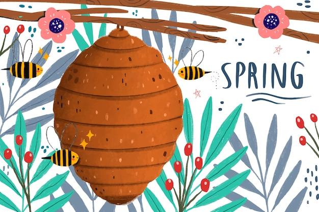 Zbliża Się Wiosna Pszczół I Miodu Darmowych Wektorów