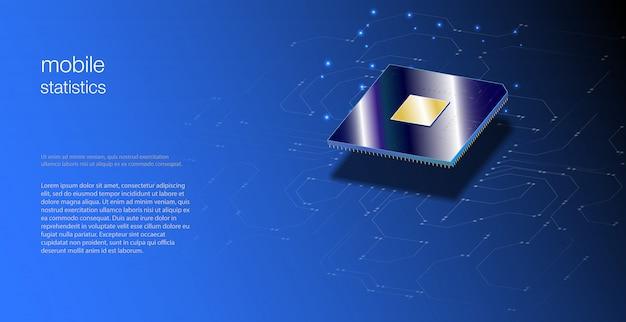 Zbliżenie Procesora Do Sieci. Zintegrowany Procesor Komunikacyjny. Procesory Cpu Premium Wektorów