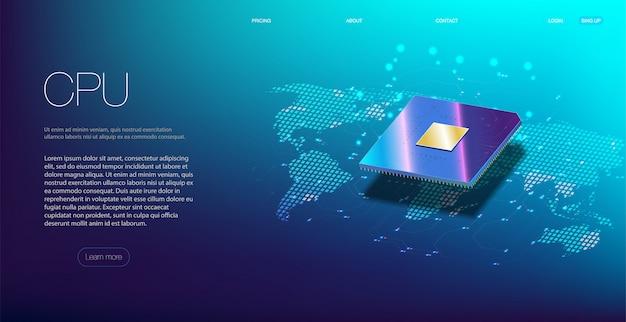 Zbliżenie Procesora Do Sieci. Zintegrowany Procesor Komunikacyjny. Premium Wektorów