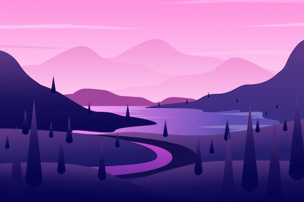 Zbocza Tło Z Purpurową Nieba I Drzewa Krajobrazową Ilustracją Premium Wektorów