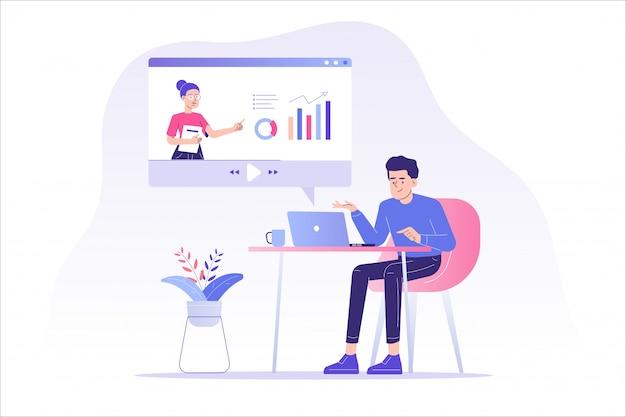 Zdalna Edukacja Online Lub Seminarium Internetowe Premium Wektorów