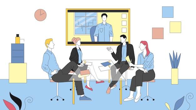 Zdalne Spotkanie Wideo Między Współpracownikami. Cztery Postacie Siedzą W Biurze I Mają Rozmowę Wideo Z Kolegą. Liniowy Skład Z Konspektem. Premium Wektorów