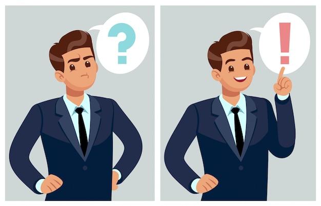 Zdezorientowany Mężczyzna Młody Biznesmen, Student Myśli, Rozumie Problem I Znajduje Rozwiązanie. Martwiący Się Ludzie I Dylemat Premium Wektorów