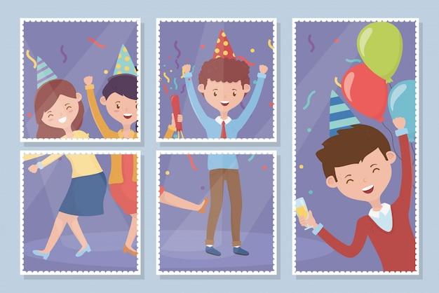 Zdjęcia ludzi szczęśliwych uroczystości Premium Wektorów