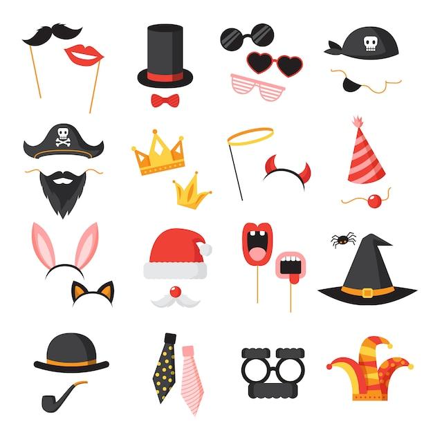 Zdjęcie booth party ikony zestaw z uszy brodę i okulary płaski na białym tle ilustracji wektorowych Darmowych Wektorów