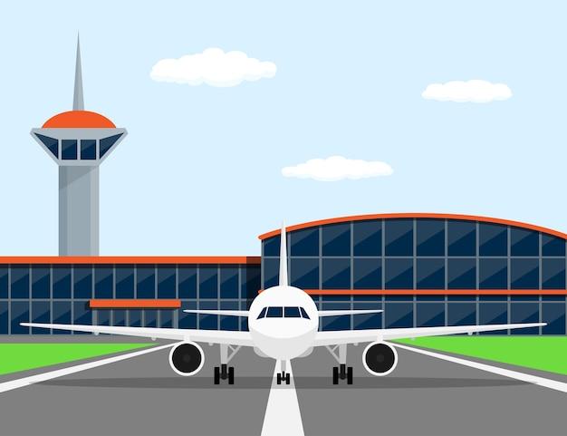 Zdjęcie Cywilnego Samolotu Na Lądowisku, Przed Lotniskiem, Styl Ilustracji Premium Wektorów