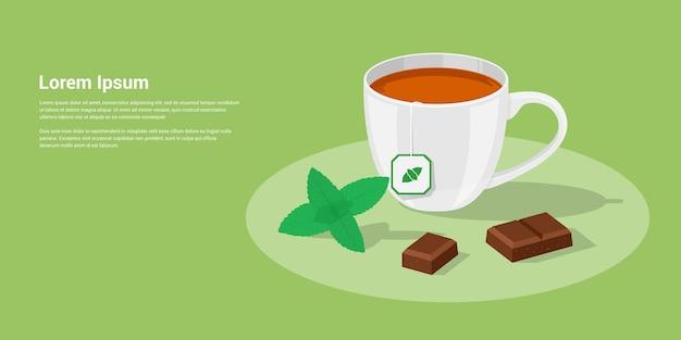 Zdjęcie Filiżanki Herbaty Z Kawałkami Czekolady I Liśćmi Mięty, Styl Ilustracji Premium Wektorów