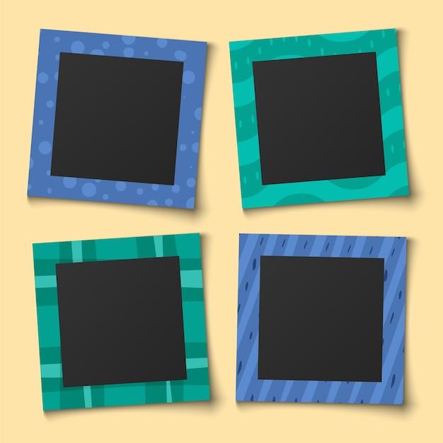 Zdjęcie Kolażu Dla Dzieci. Portrety Rodzinne Ramki Na Papierowy Album Pamięci Lub Szablon Notatnika Vintage Color Child Set Premium Wektorów