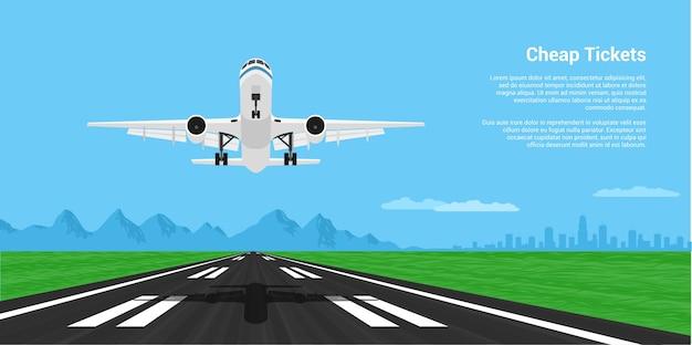 Zdjęcie Lądowania Lub Startu Samolotu Z Mointains I Duże Miasto Sylwetka Na Tle, Ilustracja Styl Premium Wektorów
