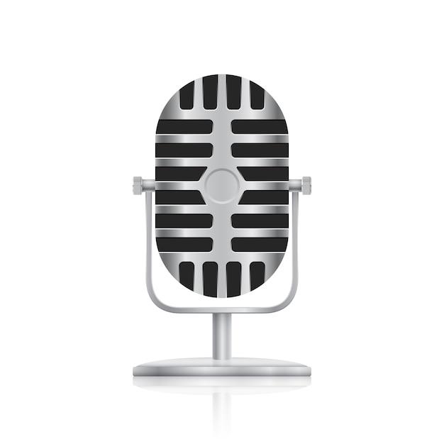 Zdjęcie Mikrofonu Studyjnego Na Białym Tle Premium Wektorów