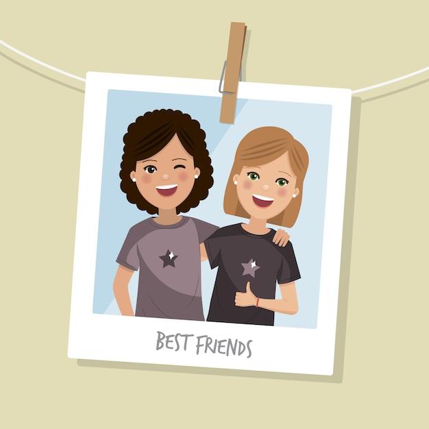 Zdjęcie Najlepszych Przyjaciół. Dwie Szczęśliwe Dziewczyny Uśmiechające Się Z Krótkimi Włosami. Ilustracji Wektorowych Premium Wektorów