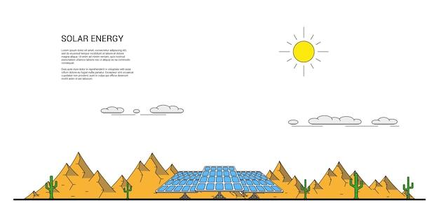 Zdjęcie Paneli Słonecznych Przed Pustynnym Krajobrazem Z Kaktusami Wokół I Górami Na Tle Premium Wektorów