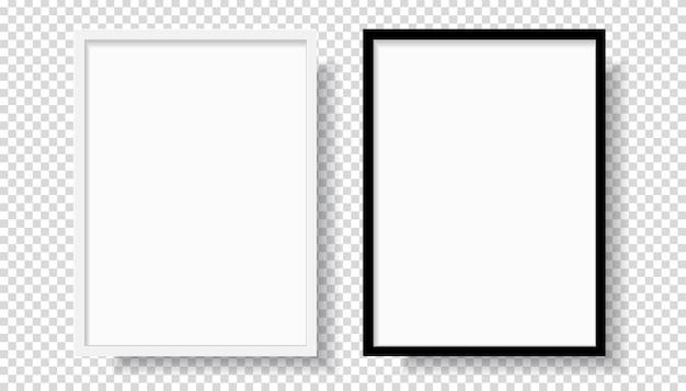 Zdjęcie Realistyczne Czarno-białe Ramki Na Zdjęcia, Wiszące Na ścianie Od Przodu. Makieta Na Przezroczystym Tle. Szablon Stylu Graficznego. Ilustracji Wektorowych Premium Wektorów