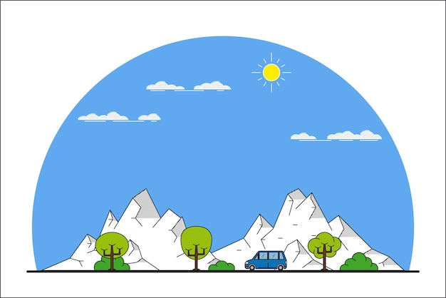 Zdjęcie Samochodu Jadącego Z Przodu Po Górskim Krajobrazie, Premium Wektorów