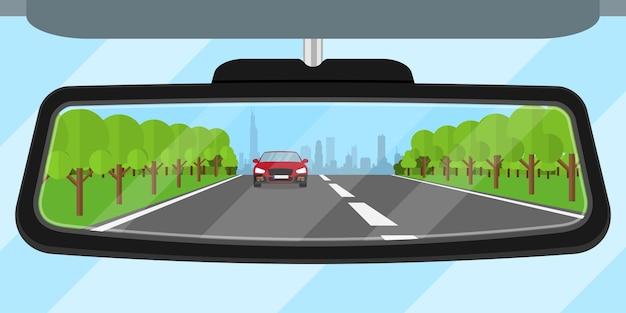 Zdjęcie Samochodu Lusterko Wsteczne Odbijające Drogę, Inny Samochód, Drzewa I Duże Miasto Sylwetka, Ilustracja Styl Premium Wektorów
