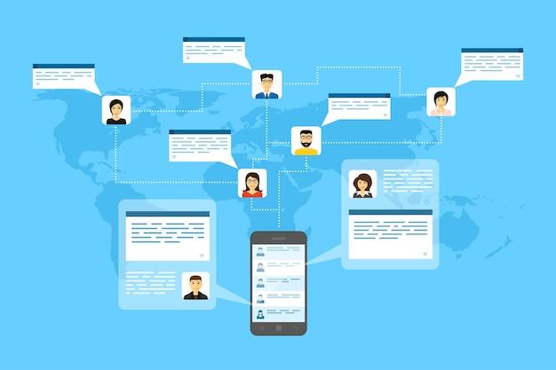 Zdjęcie Telefonu Komórkowego, Awatary Ludzi I Dymki, Ilustracja Stylu, Połączenie Internetowe, Koncepcja Sieci Społecznej Premium Wektorów