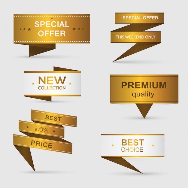 Zdobione Banery Papierowe Premium Wektorów