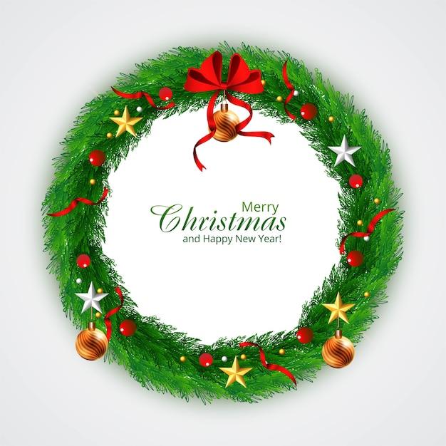 Zdobione Wieniec Boże Narodzenie Z Gwiazdami W Tle Darmowych Wektorów