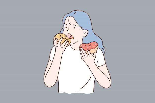 Zdrowa Dieta Lub śmieciowe Jedzenie. Premium Wektorów