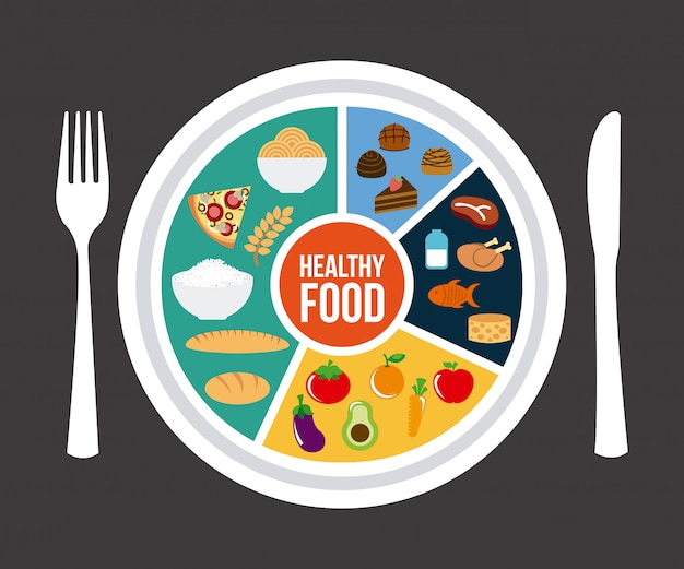 Zdrowa żywność na szarym tle ilustracji wektorowych Premium Wektorów