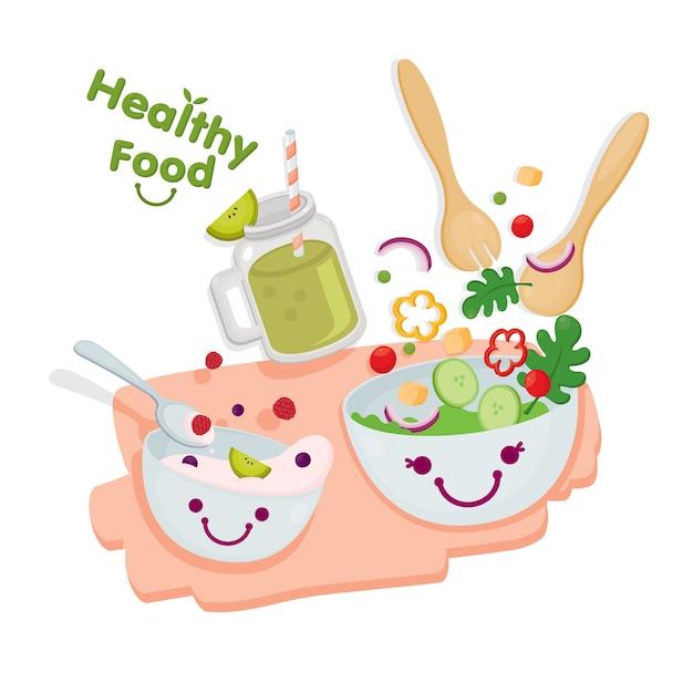 Zdrowe jedzenie. śliczna sałatka podawana z jogurtem i koktajlami kiwi. Premium Wektorów