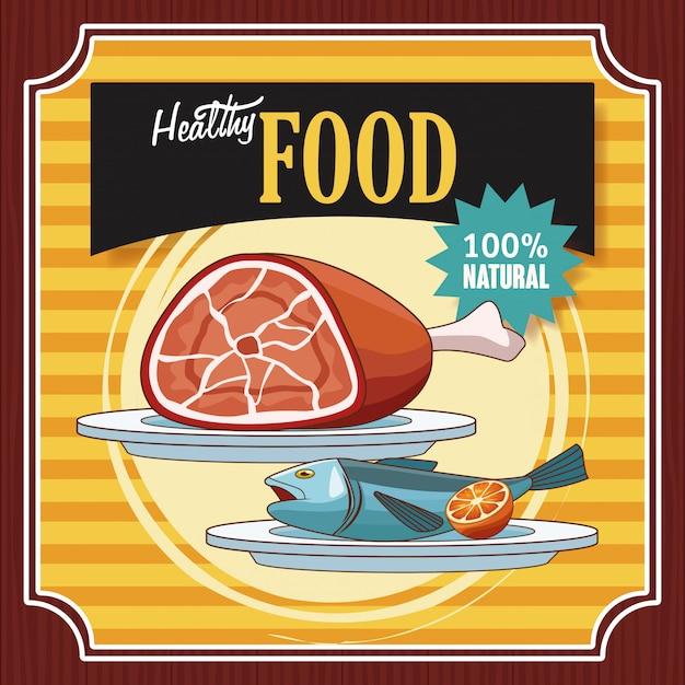 Zdrowe Jedzenie Starodawny Plakat Kreskówki Wektor Premium Pobieranie