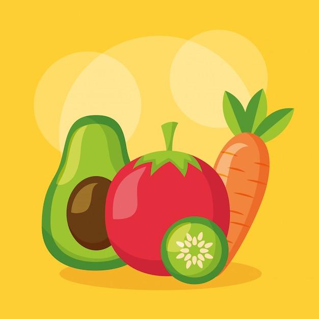 Zdrowe jedzenie świeże Darmowych Wektorów