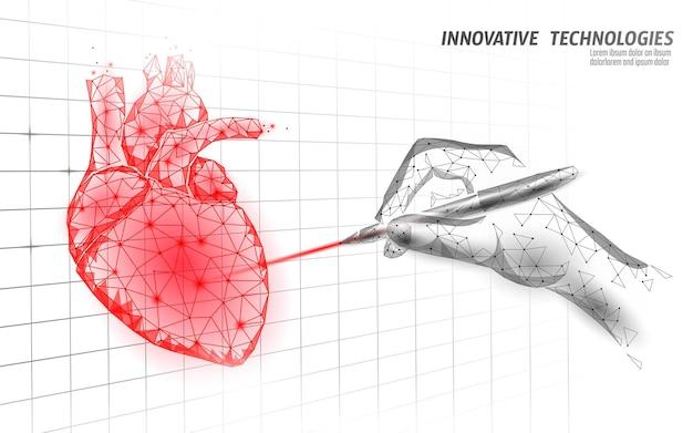 Zdrowe Ludzkie Serce Bije 3d Model Medycyny Low Poly Premium Wektorów