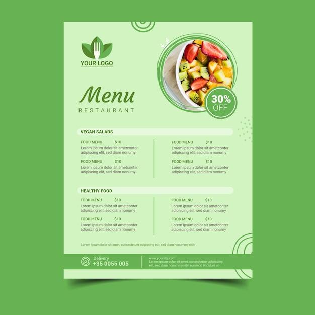 Zdrowe Menu Restauracji Darmowych Wektorów