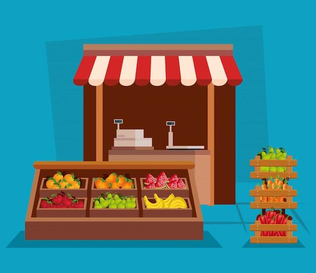 Zdrowe Odżywianie Warzyw I Owoców Premium Wektorów