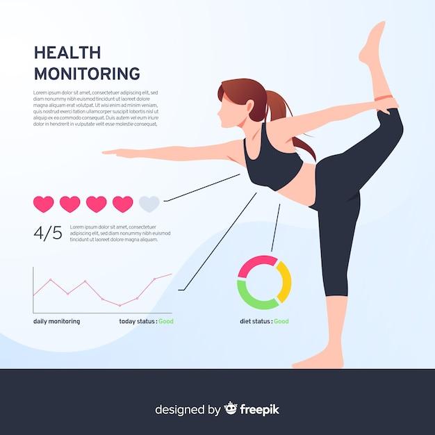 Zdrowie infographic szablonu stylu płaski Darmowych Wektorów