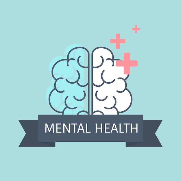 Zdrowie psychiczne rozumienie wektora mózgu Darmowych Wektorów