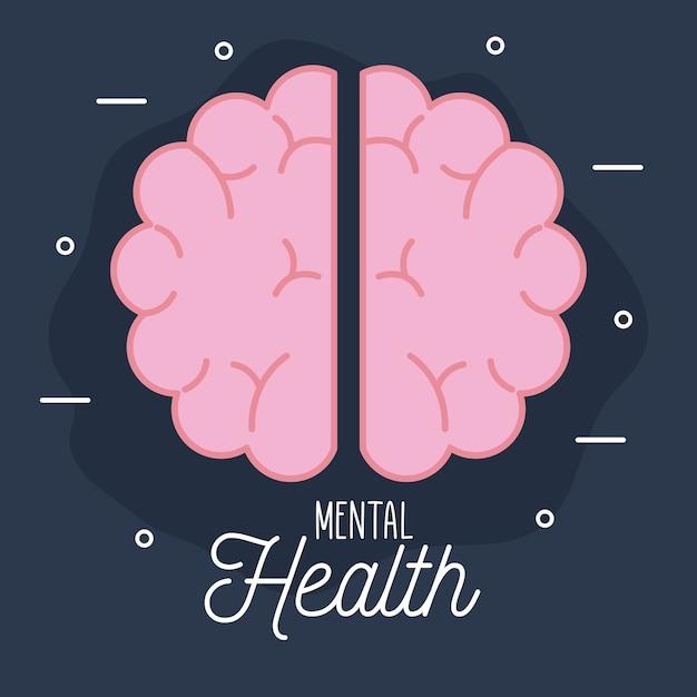 Zdrowie Psychiczne Z Ikoną Mózgu I Motywem Ludzkim Premium Wektorów
