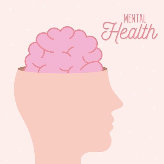 Zdrowie Psychiczne Z Mózgiem W Głowie I Ludzkim Motywem Premium Wektorów