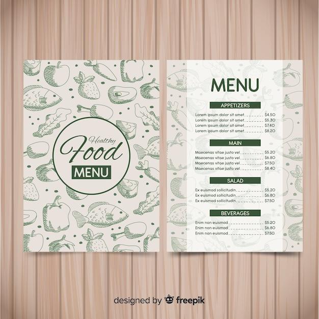 Zdrowy szablon menu Darmowych Wektorów
