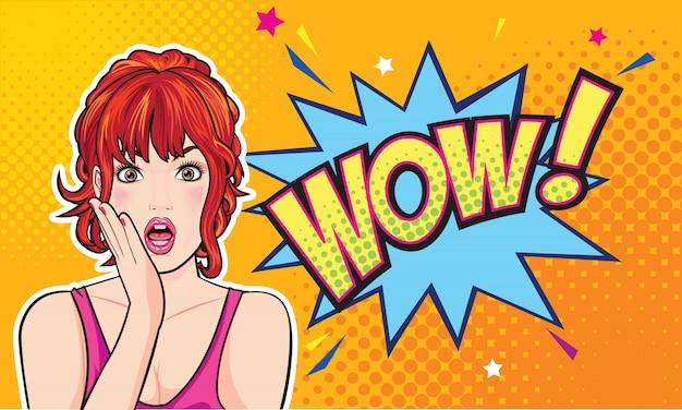 Zdziwiona kobiety twarz z otwartym usta z różowymi wargami Premium Wektorów