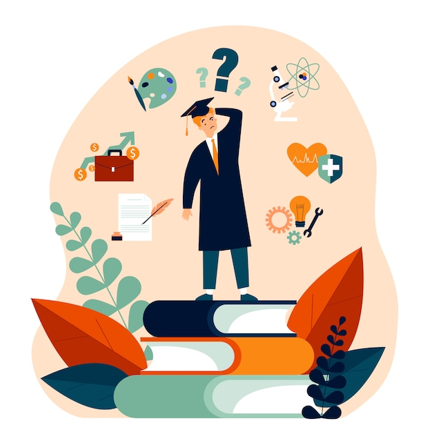 Zdziwiony Student Dokonujący Wyboru Swojej Przyszłej ścieżki Kariery Premium Wektorów