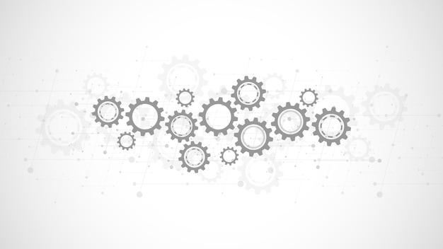 Zębatki I Mechanizmy Kół Zębatych. Zaawansowana Technologia Cyfrowa I Inżynieria. Streszczenie Tło Techniczne. Premium Wektorów