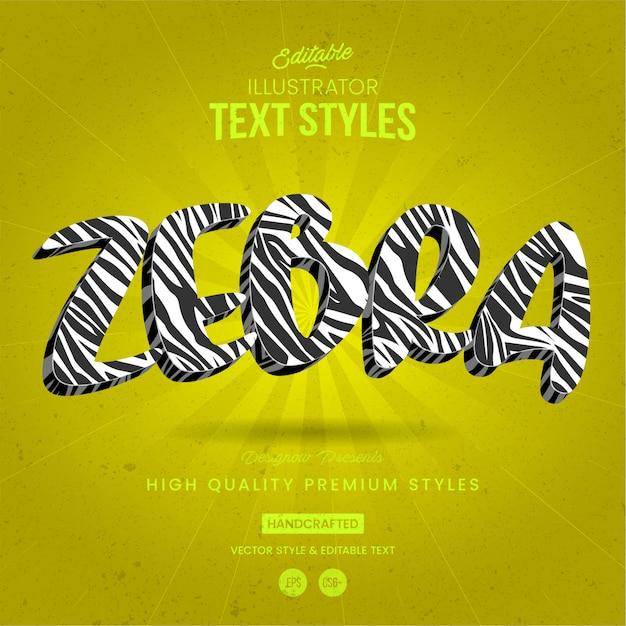 Zebra W Stylu Tekstu Zwierzęcego Premium Wektorów