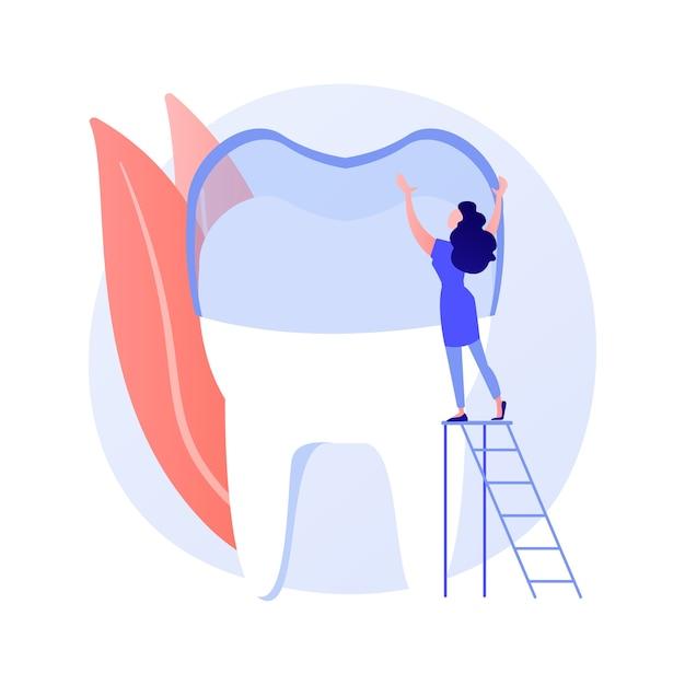 Zęby Noszą Silikonowe Trener Streszczenie Ilustracji Wektorowych Koncepcja. Niewidoczne Aparaty Ortodontyczne, Silikonowe Noszenie Zębów, Szkolenie Stomatologiczne, Opieka Stomatologiczna, Metoda Leczenia Zatłoczonych Zębów Abstrakcyjna Metafora. Darmowych Wektorów