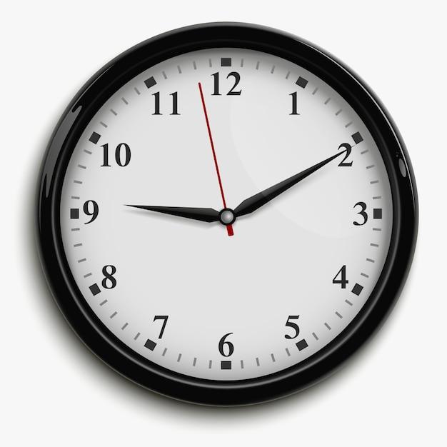 Zegar ścienny biurowy z czarnymi i czerwonymi rękami i białą tarczą Darmowych Wektorów