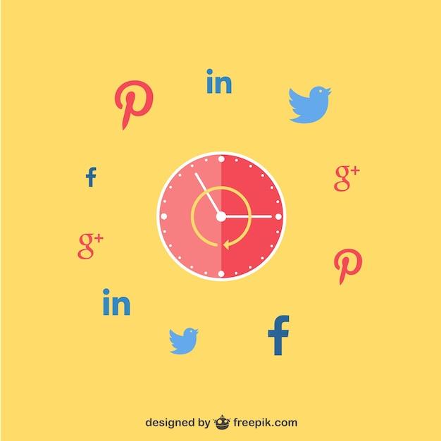 Zegar Z Sieci Społecznych Ikon Darmowych Wektorów