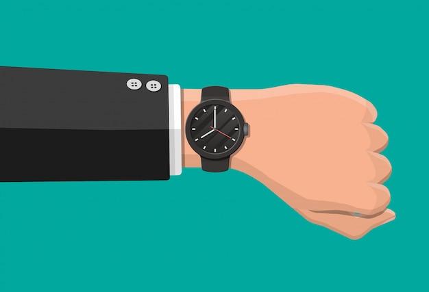 Zegarek Na Rękę. Człowieku, Sprawdź Czas. Czas Na Zegarku. Czarny Zegar Z Paskiem. Ilustracja Wektorowa W Płaskim Ramiaku Premium Wektorów
