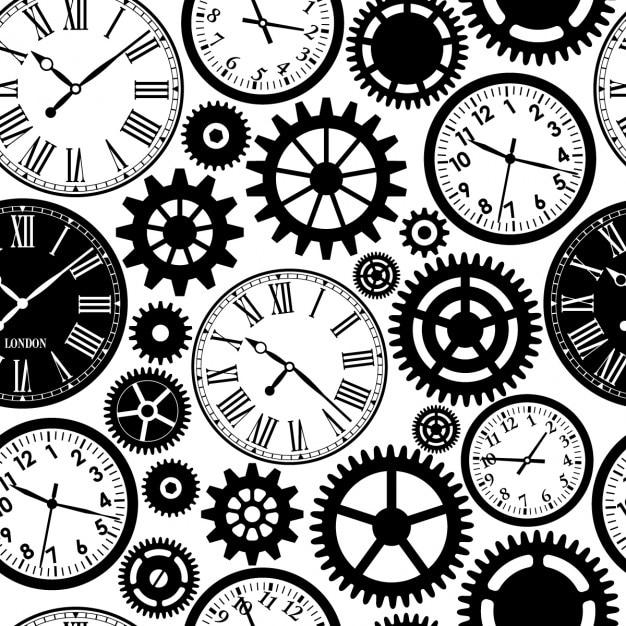 Zegary bezszwowe wzór czarno-białe tekstury czasu Darmowych Wektorów