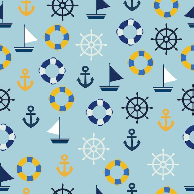 Żeglarza Bezszwowy Wzór Morza Dekoraci Bezszwowy Wzór Premium Wektorów