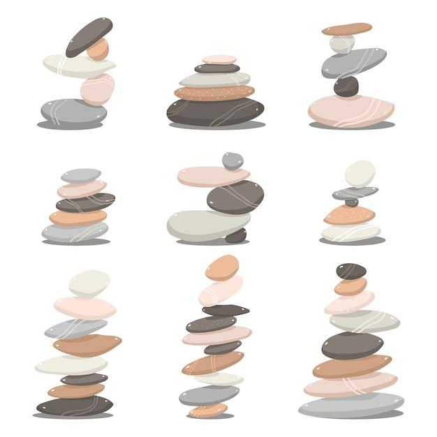 Zen Kamienie Kreskówka Zestaw Na Białym Tle Na Białym Tle Premium Wektorów