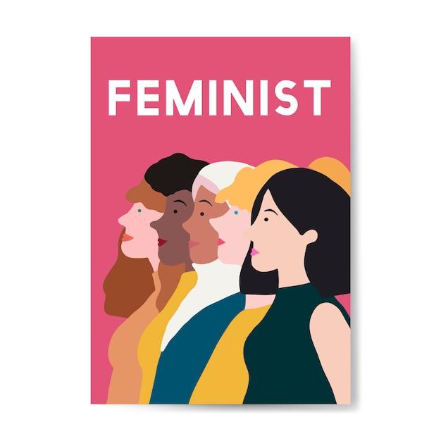 Żeński Feministka Stoi Wpólnie Wektor Darmowych Wektorów