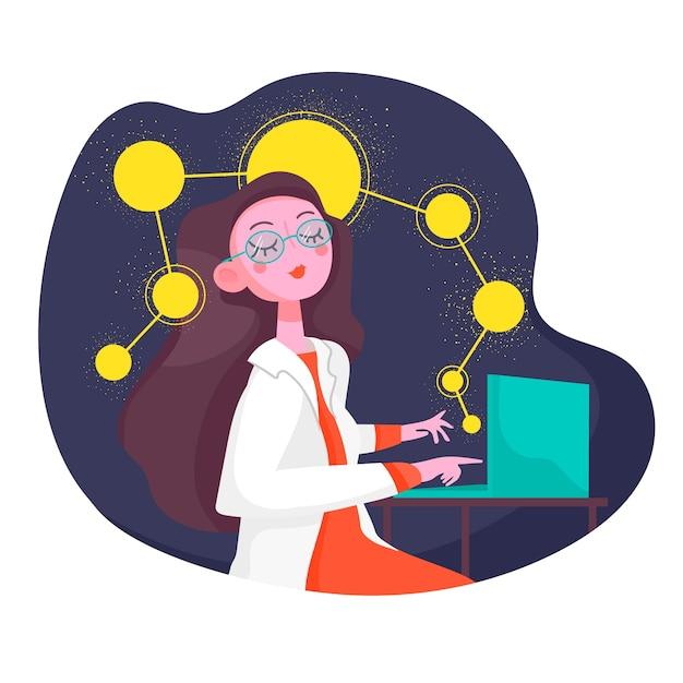 Żeński Naukowiec Pracuje Na Laptopie Darmowych Wektorów