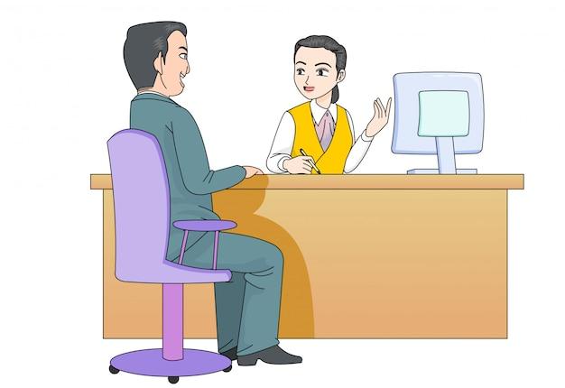 Żeński Personel Uprzejmie Reaguje Na Klientów Premium Wektorów