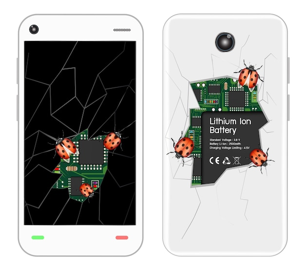Zepsuty Smartfon Z Błędami Premium Wektorów